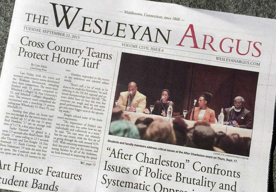 The Wesleyan Argus student newspaper is displayed Sept. 24 on the campus of Wesleyan University in Middletown. The student government for the liberal arts school is weighing a petition to strip The Argus of funding after some objected to an opinion piece it published on the Black Lives Matter movement. Photo: AP Photo  / AP