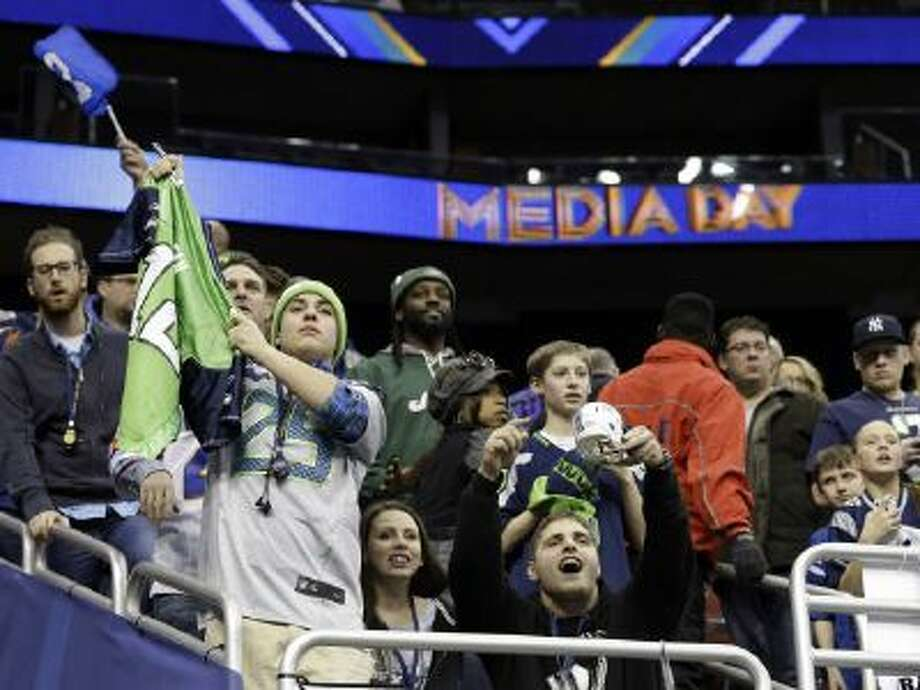 Seattle Seahawks fans cheer during Media Day Tuesday in Newark, N.J.