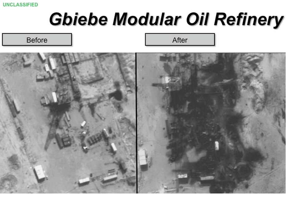 This two-picture combo photo, provided by the Pentagon, used during a Pentagon briefing Thursday, Sept. 25, 2014, shows before and after allied airstrike photos of the Gbiebi Modular oil refinery in Syria. (AP Photo/DoD) Photo: AP / Defense Department