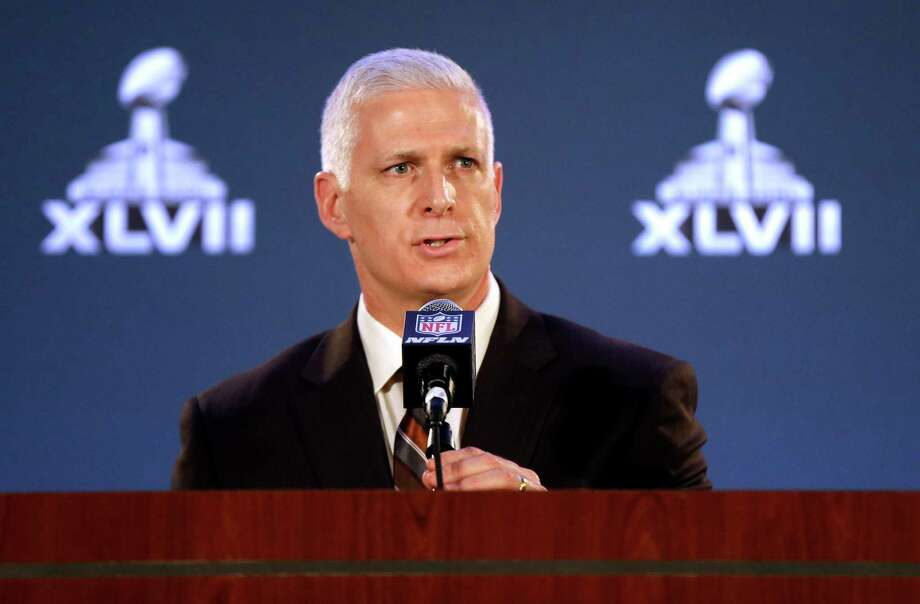 FILE - In this Jan. 30, 2013, file photo,  Jeffery Miller, NFL vice president of security, addresses the media at a news conference for Super Bowl XLVII in New Orleans. The video of Ray Rice punching his fiancee inside a casino elevator was sent to NFL headquarters to the attention of Miller in April, a law enforcement official says. The NFL has repeatedly said no one with the league saw the violent images until TMZ Sports released the video earlier this month. Miller said Thursday, Sept. 25, 2014, through an NFL spokesman that he never received the video. (AP Photo/Gerald Herbert, File) Photo: AP / AP