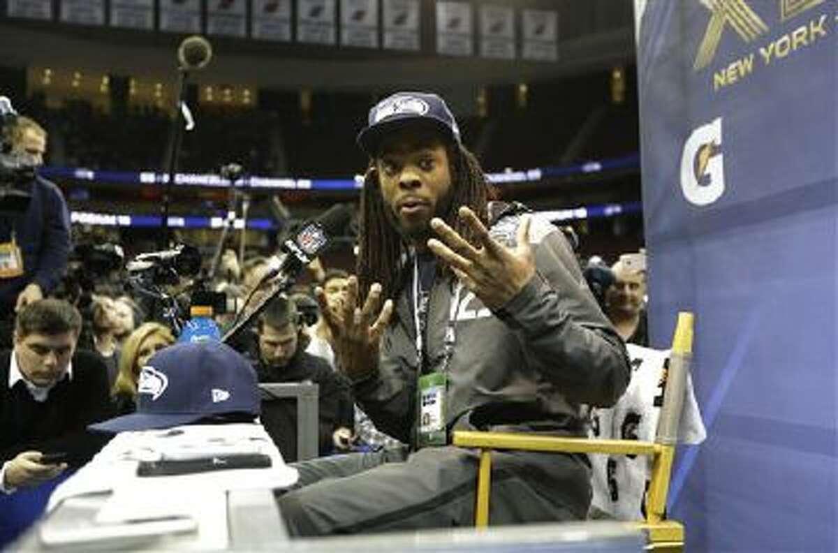 Seattle Seahawks' Richard Sherman speaks at Media Day Tuesday in Newark, N.J.
