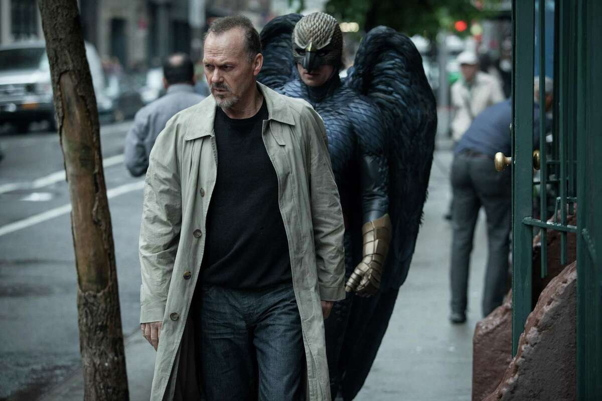 """This photo released by Twentieth Century Fox shows Michael Keaton, left, as Riggan in a scene from the film, """"Birdman,"""" directed by Alejandro Gonzalez Inarritu."""