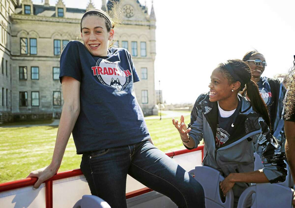 UConn's Breanna Stewart, left, and Moriah Jefferson will be watching the WNBA draft lottery Thursday night.