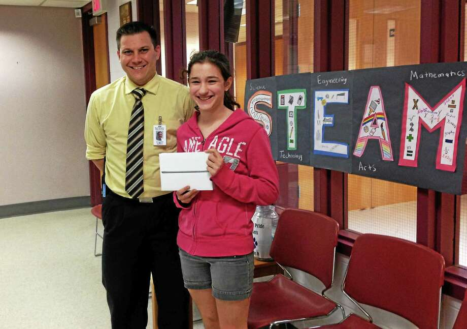 East Hampton Middle School student Brianna Caron won the mini iPad from the STEAM raffle. Photo: Courtesy Photo