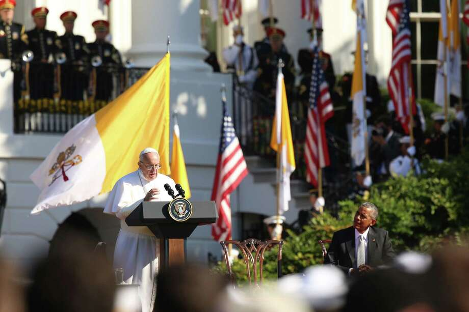 Pope Francis, accompanied by President Barack Obama, speaks during a state arrival ceremony on Sept. 23, 2015, on the South Lawn of the White House in Washington. Photo: AP Photo/Andrew Harnik  / AP
