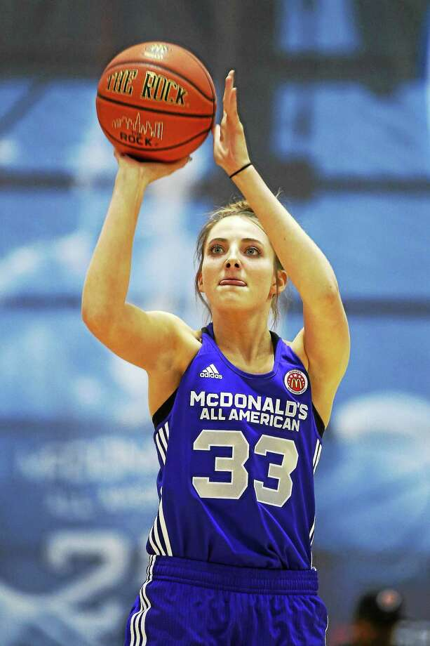 Katie Lou Samuelson competes in the three-point shootout during the McDonald's All-American Jam Fest on March 30 in Chicago. Photo: Andrew A. Nelles — The Associated Press File Photo  / FR170974 AP