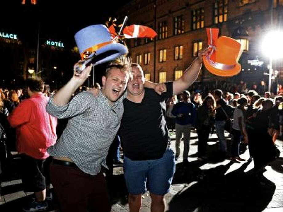 "Celebrations in Town Hall Square in Copenhagen after Emmelie de Forest of Denmark, who sang ""Only Teardrops"", won the 2013 Eurovision Song Contest, on Saturday night, May 18, 2013."