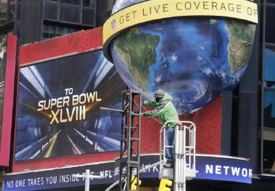 "Times Square in New York City has been revamped to be ""Super Bowl Boulevard"" this week."