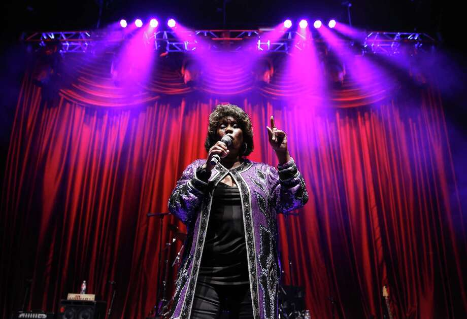 Shirley King, eldest daughter of B.B. King, performs Friday, May 22, 2015, in Las Vegas. Shirley King hosted and performed at a free musical event at the Brooklyn Bowl. (AP Photo/John Locher) Photo: AP / AP