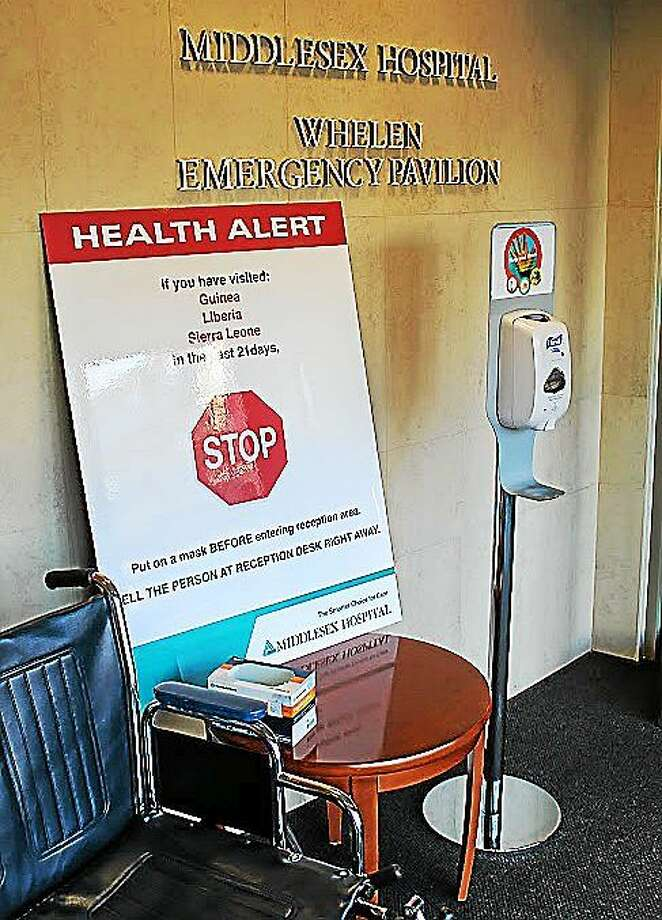 Informative displays have been set up at Middlesex Hospital facilities calling attention to the threat of the deadly Ebola disease. Photo: Courtesy Photo