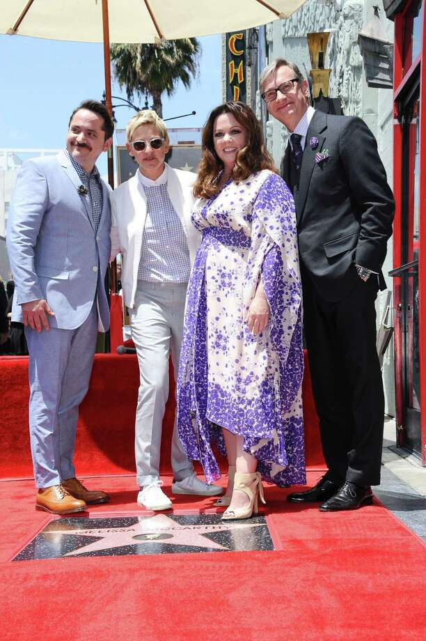 Actor Ben Falcone, from left, Ellen DeGeneres, Melissa McCarthy, and director Paul Feig attend a ceremony honoring McCarthy with a star on the Hollywood Walk of Fame on Tuesday, May 19, 2015, in Los Angeles. (Photo by Richard Shotwell/Invision/AP) Photo: Richard Shotwell/Invision/AP / Invision