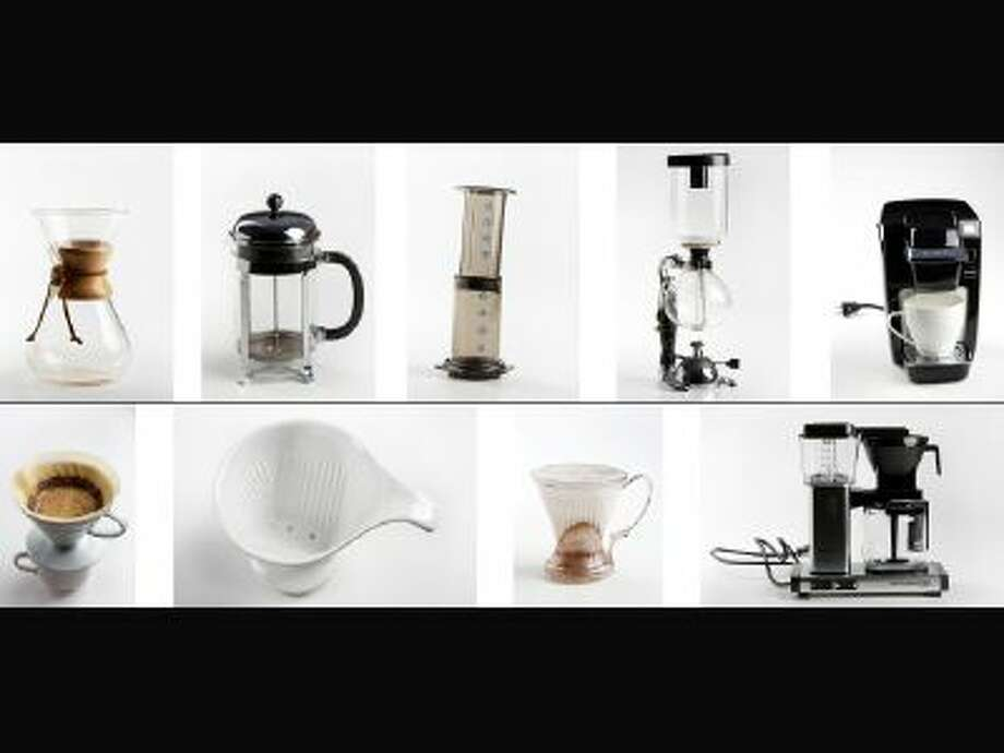 (Top row) From left, Chemex eight-cup coffeemaker; Bodum Chambord eight-cup French press; AeroPress; Yama 3-cup tabletop siphon (vacuum pot); and Keurig K10 Mini, with reusable K-Cups. (Bottom row) From left, Hario V60 ceramic dripper, size 2; Bee House ceramic dripper (small); Clever Dripper (large); and Moccamaster KBG-741 AO. See story for details. (Photos not to scale.)