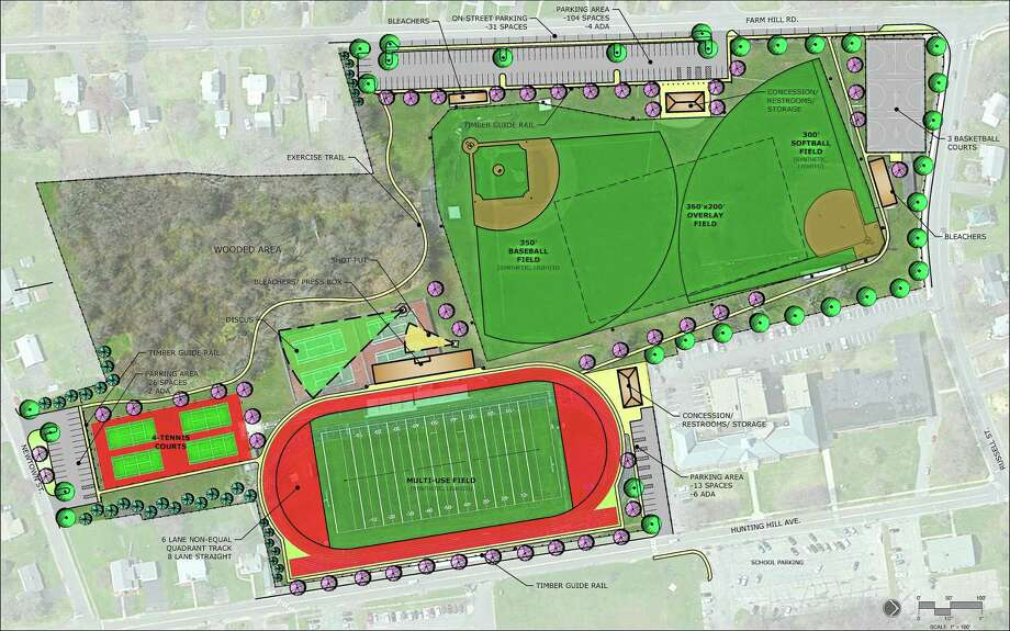Shown are renderings for improvements at Middletown's Kidney Field on Farm Hill Road in Middletown, which will include artificial turf. Photo: Courtesy Milone & Macbroom