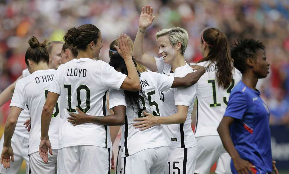 The U.S. women's soccer team celebrates after a goal in the first half against Haiti on Sunday in Birmingham, Ala. Photo: Brynn Anderson — The Associated Press  / AP