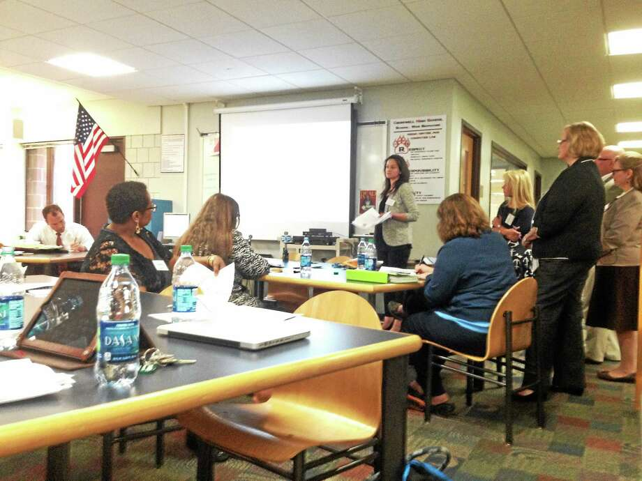 Kaitlyn Schroyer - The Middletown Press The Common Core task force discusses their learnings from Cromwell Wednesday. Photo: Journal Register Co.