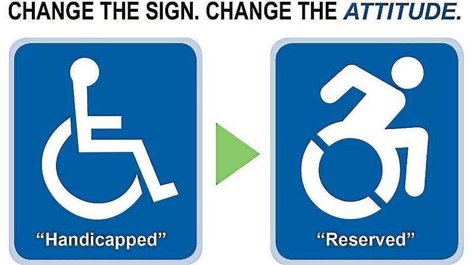 The old and the new handicapped parking signs. Photo: Journal Register Co.