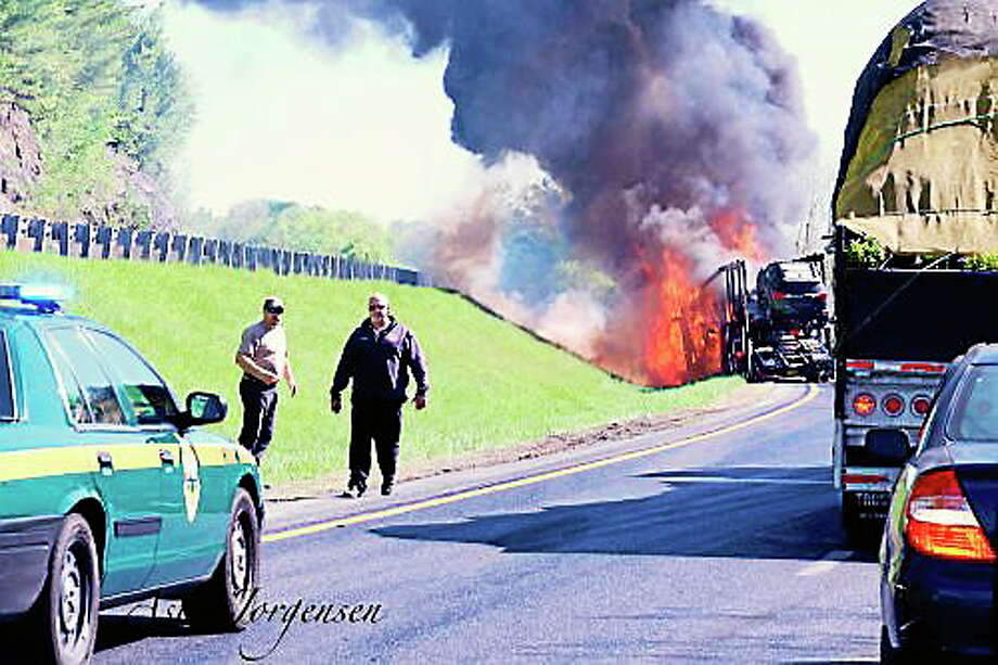Submitted photo A tractor trailer burst into flames on I-91 Tuesday. Photo: Journal Register Co.