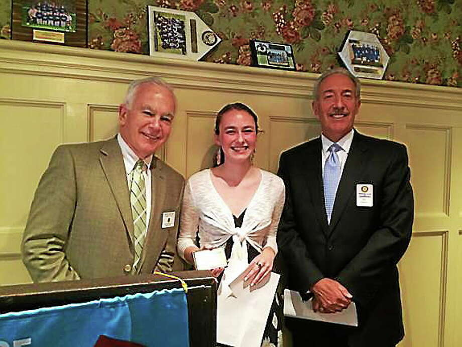 Submitted photo From left are Middletown Rotary Club President Garry Mullaney, student of the month Emily Pattavina and Middletown Rotarian Joseph Marino. Photo: Journal Register Co.