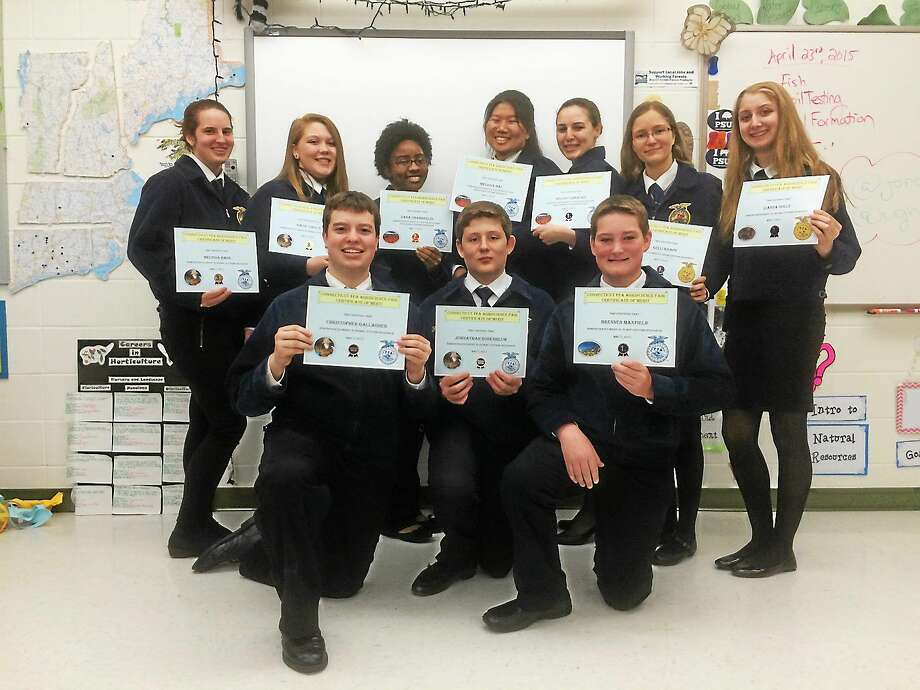 Middletown agriculture students compete at the 2015 CT FFA Agriscience Fair. From left, bottom row are: Chris Gallager, Jonathan Rosenblum and Brennen Maxfield. Top row, from left: Melissa Hass, Katie Saraka, Dana Chamberlain, Melissa Mau, Kelsey DiMauro, Kelli Knapp and Leianna Dolce. Photo: Courtesy Middletown High School