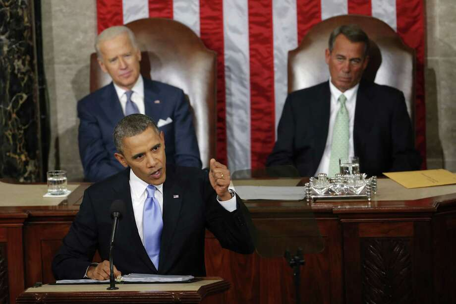 In this Jan. 28, 2014 photo, Vice President Joe Biden and House Speaker John Boehner of Ohio listens as President Barack Obama gives his State of the Union address on Capitol Hill in Washington. Photo: AP Photo/Charles Dharapak, File  / AP