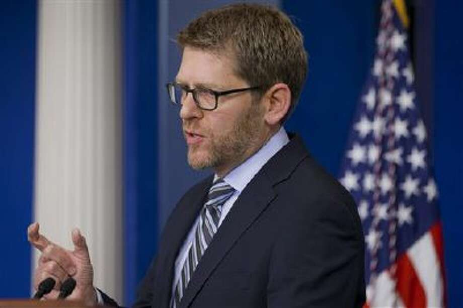 White House press secretary Jay Carney speaks last Thursday during his daily news briefing at the White House. Carney answered questions including on Benghazi and the State Department. Photo: AP / AP