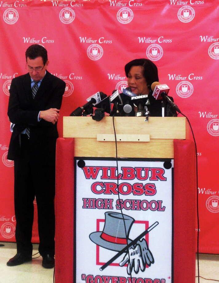 (Rachel Chinapen- New Haven Register) New Haven Mayor Toni Harp speaks at Wilbur Cross High School. Gov. Dannel Malloy is at left. Photo: Journal Register Co.