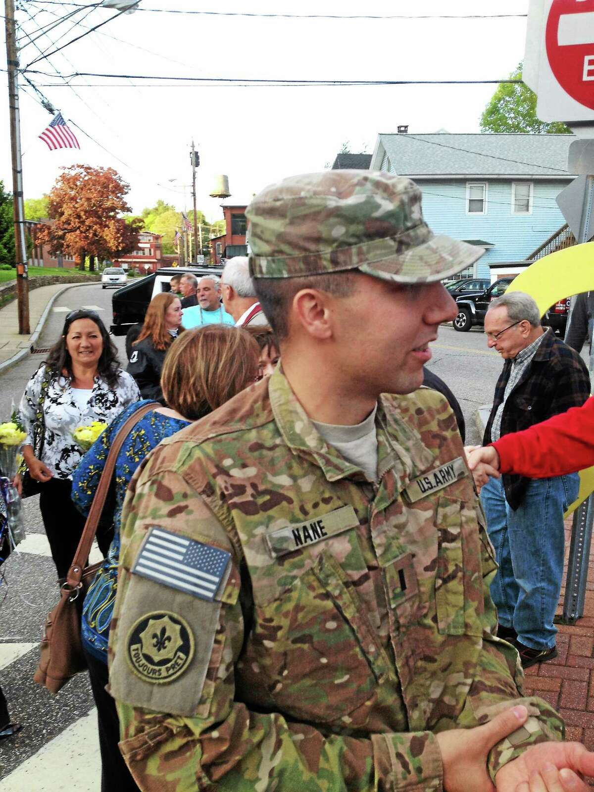 Jeff Mill - The Middletown Press Army 1st Lt. Sebastiano Nane returned East Hampton from Afghanistan Monday.