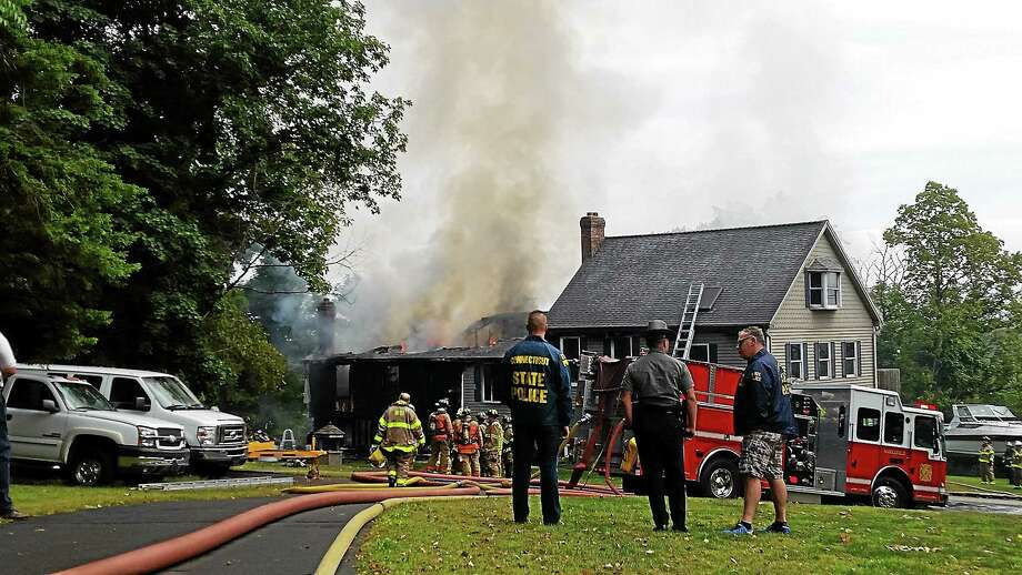A fire on Jackson Hill Road in Middlefield was destroyed by fire Tuesday. Photo: Kathleen Schassler - The Middletown Press
