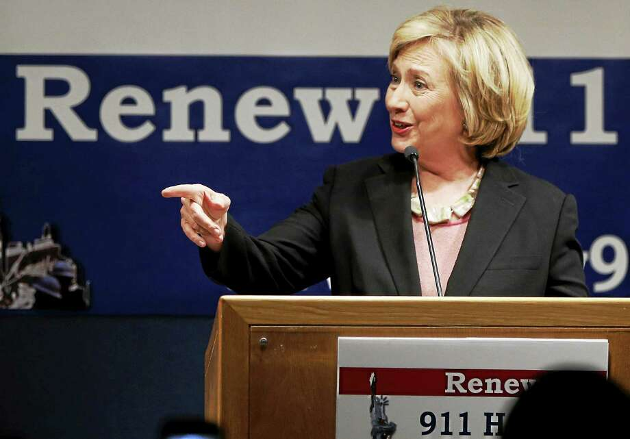 Former Secretary of State Hillary Rodham Clinton speaks during a fundraiser in Lower Manhattan benefiting two union-backed Sept. 11 victims' advocacy groups, in New York on Sept. 16, 2014. Photo: AP Photo/Kathy Willens  / AP