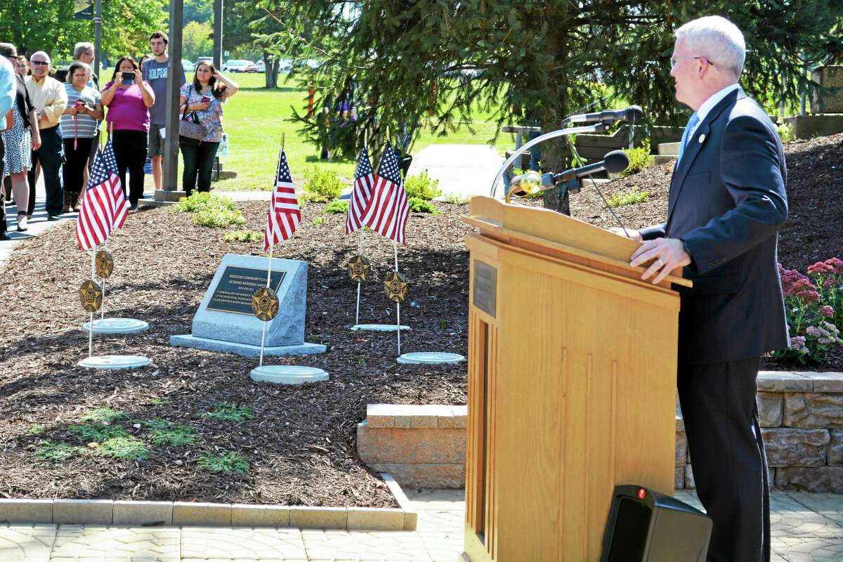 Middlesex Community College unveiled its Veterans Memorial Garden Wednesday as state and local dignitaries, students, staff and veterans stood by at the Middletown campus. Here, Connecticut Veterans Affairs Commissioner Sean Connelly speaks.