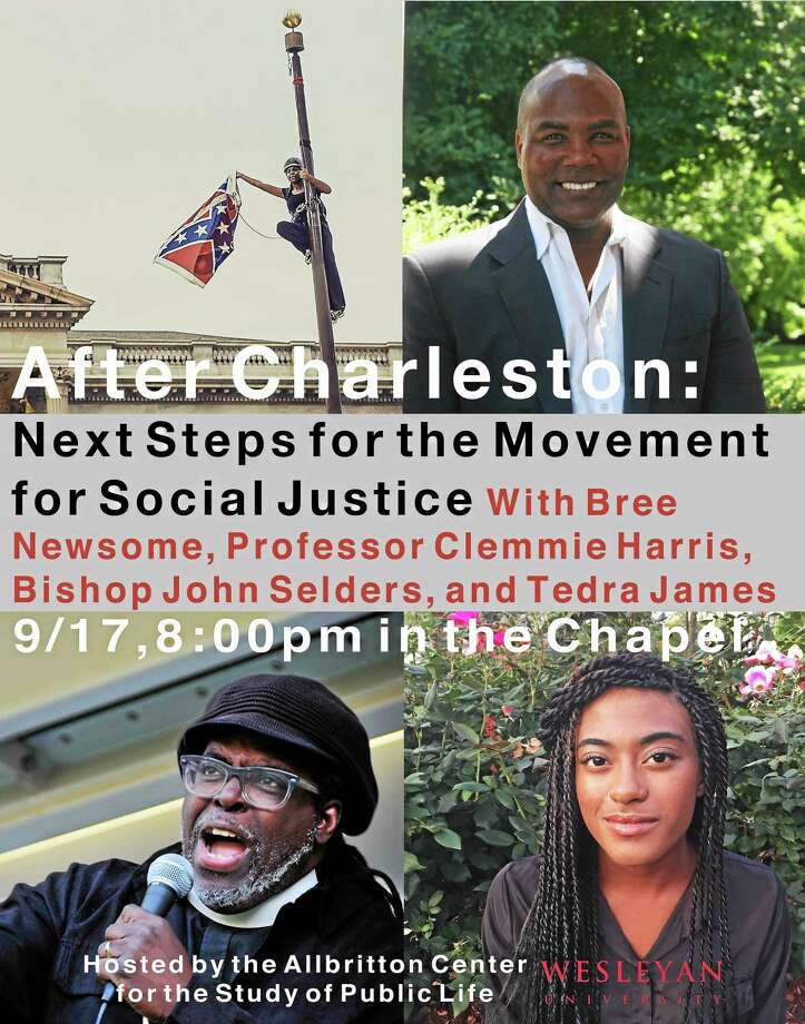 """Clemmie Harris, visiting assistant professor of African American studies; Wesleyan University student Tedra James '18; activist and filmmaker Bree Newsome and Connecticut Bishop John Selders will lead a discussion on """"After Charleston: Next Steps for the Movement for Social Justice"""" Thursday in Middletown. Photo: Courtesy Photo"""