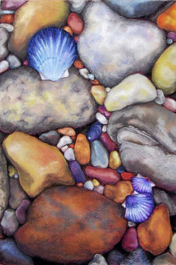 """Image courtesy of the artist """"Pebbled Beach"""" by Jo McGinnis of West Hartford. Photo: Journal Register Co."""