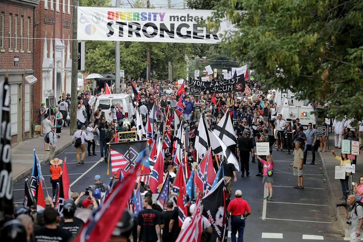 Hundreds of white nationalists, neo-Nazis and members of the