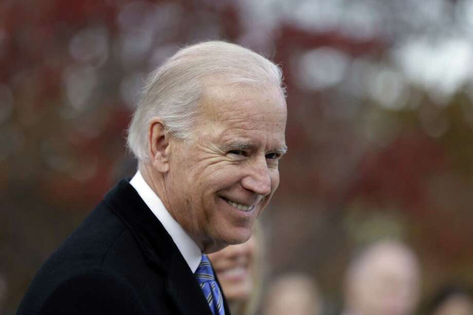 This Nov. 6, 2012 file photo shows Vice President Joe Biden speaking with members of the media in Greenville, Del. Photo: Matt Rourke — The Associated Press  / AP