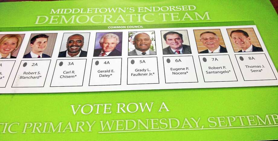 Middletown Democratic Common Council candidates, from left, Carl R. Chisem, Gerald E. Daley, Grady L. Faulkner Jr. and Gene Nocera. Photo: Photo Illustration
