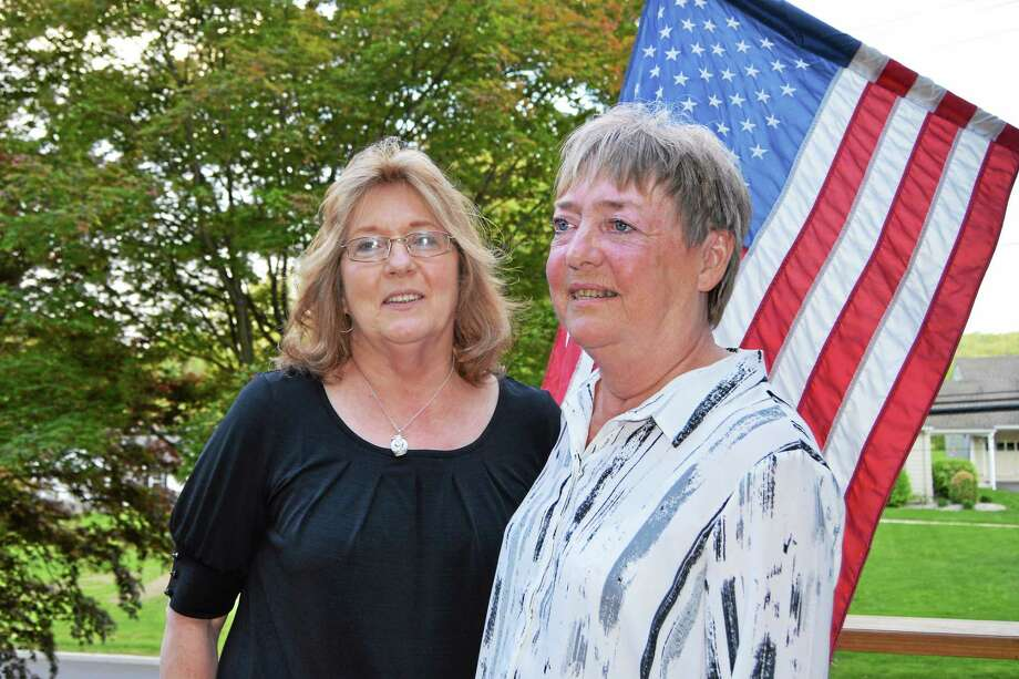 Berith Andersson, right, from Norr Koping, Sweden, is in Middletown visiting her pen pal of 55 years, Carol Koba Mitchell. Photo: Julie Rancourt — Special To The Press
