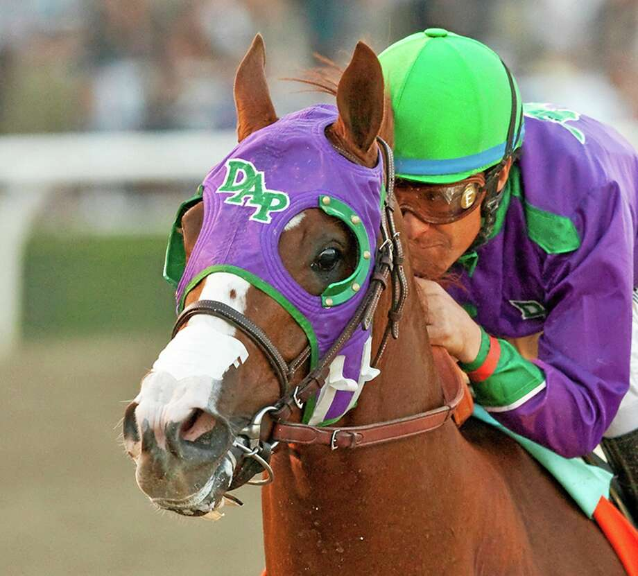 California Chrome might abandon his Triple Crown bid if New York officials do not allow the colt to wear a nasal strip in the Belmont Stakes. Trainer Art Sherman made no threats about the Kentucky Derby and Preakness winner passing on a chance to become horse racing's 12th Triple Crown winner, but he suggested it was a possibility. Photo: The Associated Press File Photo  / Benoit Photo