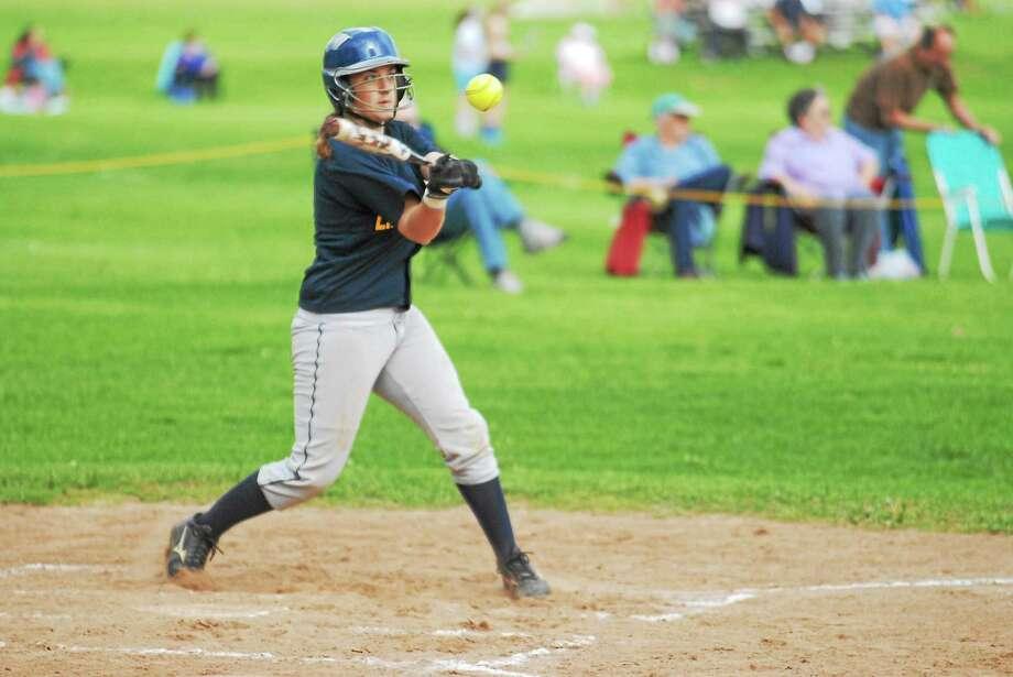 Vinal Tech senior Karen Agogliati had a pair of hits in Thursday's game against Cheney Tech. Photo: Jimmy Zanor — Middletown Press