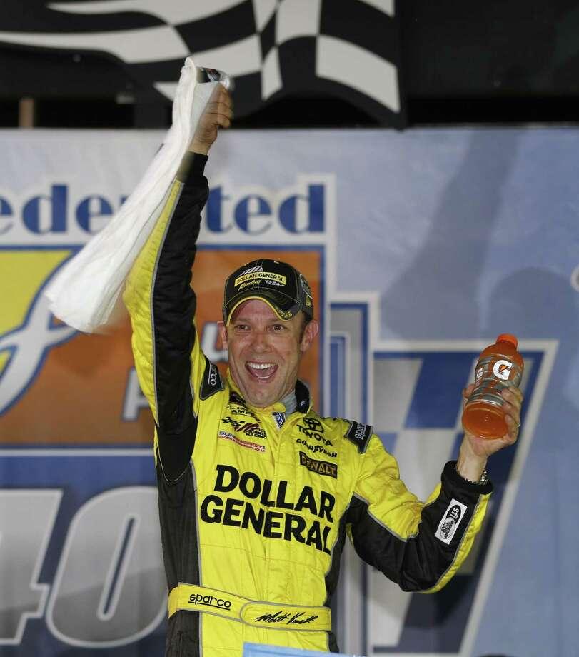 Matt Kenseth celebrates after winning at Richmond International Raceway on Saturday. Photo: Steve Helber — The Associated Press  / AP