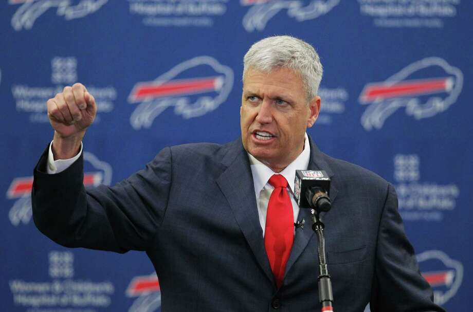 Rex Ryan addresses the media during a news conference after he was introduced as the new head coach of the Buffalo Bills on Wednesday in Orchard Park, N.Y. Photo: Bill Wippert — The Associated Press  / FR170745 AP