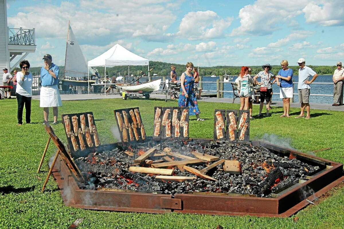 Rotary Club of Essex volunteers prepare shad the traditional way by nailing them onto oak boards and using a specially prepared rub. Here, Connecticut River shad baking is shown in front of a fire on oak planks.