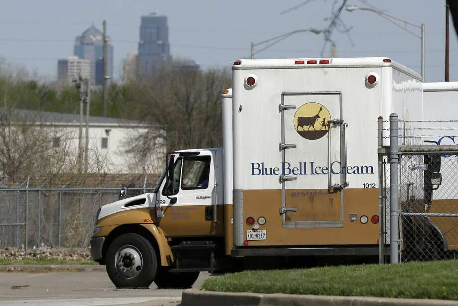 In this April 10 photo, Blue Bell delivery trucks are parked at the creamery's location in Kansas City, Kansas. Photo: Orlin Wagner — The Associated Press  / AP