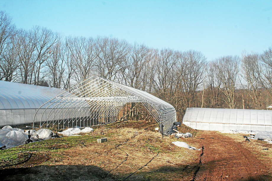 Submitted photo. A hoop house currently under construction at the Starlight Gardens organic farm in Durham. The farm recently received a state grant of $36,000 towards repairs and crop restoration following last year's blizzard that crippled much of the state's agriculture in the aftermath. Photo: Journal Register Co.