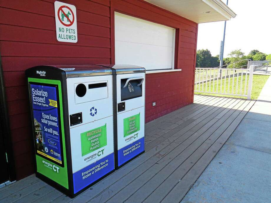 The Town of Essex has installed a solar-powered trash compactor at the Snack Shack at Valley Regional High School in Deep River. Photo: Submitted Photo