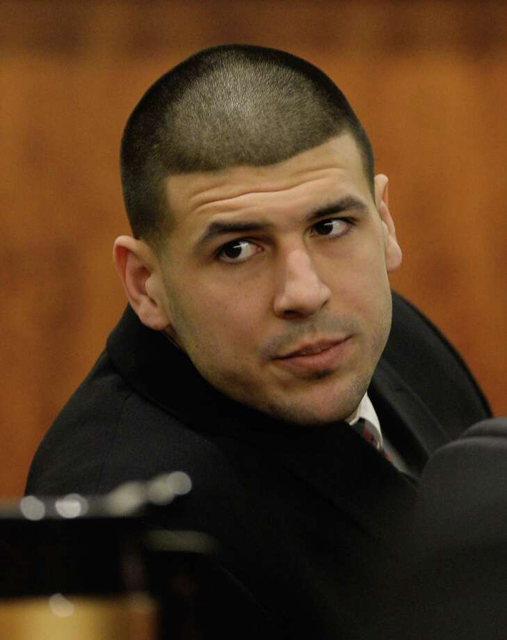 In a Jan. 6, 2015 photo, former New England Patriots football player Aaron Hernandez attends a pretrial hearing in the first of two murder cases against him at Bristol County Superior Court in Fall River, Mass. Photo: AP Photo/CJ Gunther, Pool, File  / POOL EPA