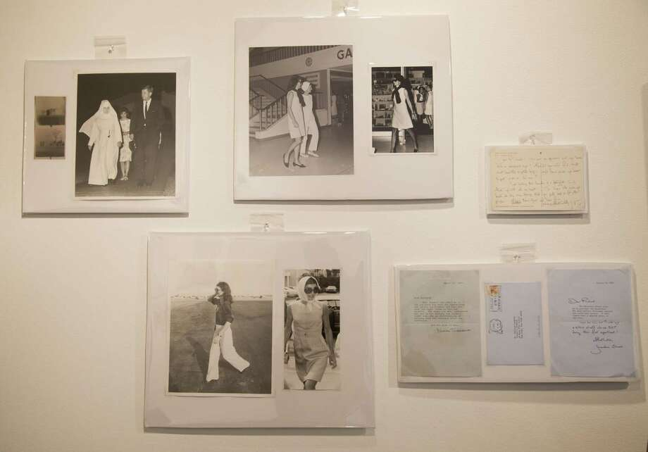 In this Wednesday, Jan. 7, 2015 photo, groups of photos of Jacqueline Kennedy Onassis by Bob Davidoff, who spent decades as the Kennedy familyís photographer in Palm Beach, and other personal correspondence written by Kennedy Onassis appear on display before they are auctioned off in West Palm Beach, Fla. The auction will include a few dozen pieces including handwritten notes that were sent throughout the 1980s and early 1990s to interior designer Richard Keith Langham and Bill Hamilton, who at the time was the design director at Carolina Herrera. (AP Photo/Wilfredo Lee) Photo: AP / AP