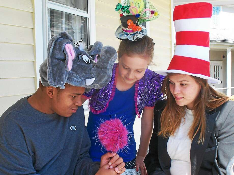 "Contributed photo  Madhatters Theatre Company presents ""Seussical"" at Chester Meeting House 4 Liberty Street Chester, opening May 15. Above are Jalen Moody of New London as Horton the Elephant, Hannah Schwartzman of Deep River as JoJo and Erin Lynch of Middletown as the Cat in the Hat. Photo: Journal Register Co."