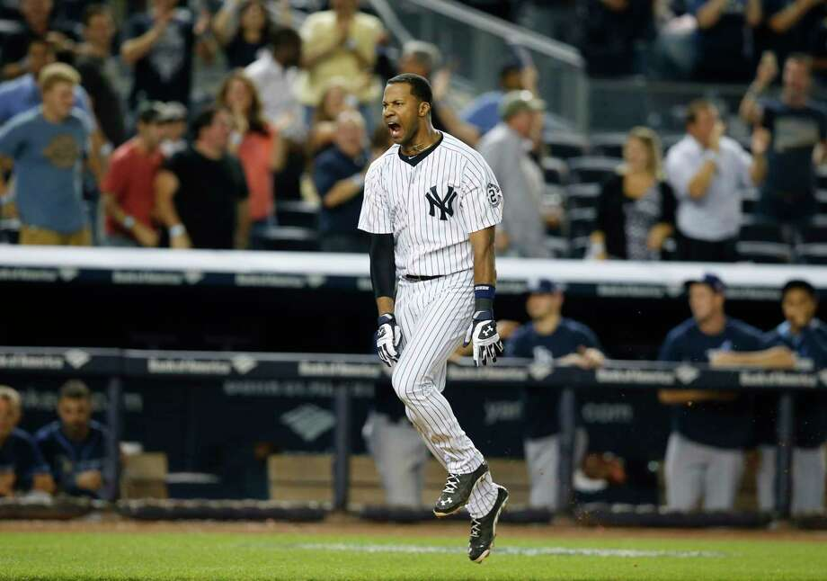 The Yankees Chris Young reacts after hitting a walk-off home run Thursday. Photo: Kathy Willens — The Associated Press  / AP