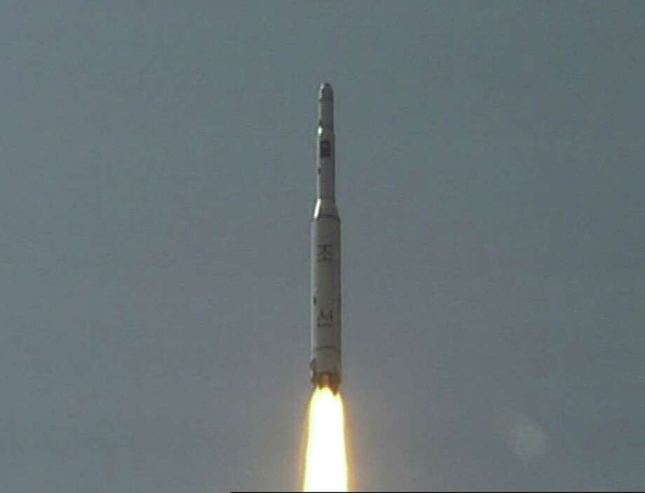 In this April 5, 2009, image made from KRT video, a rocket is lifted off from its launch pad in Musudan-ri, North Korea. Photo: AP File Photo  / 2009 AP