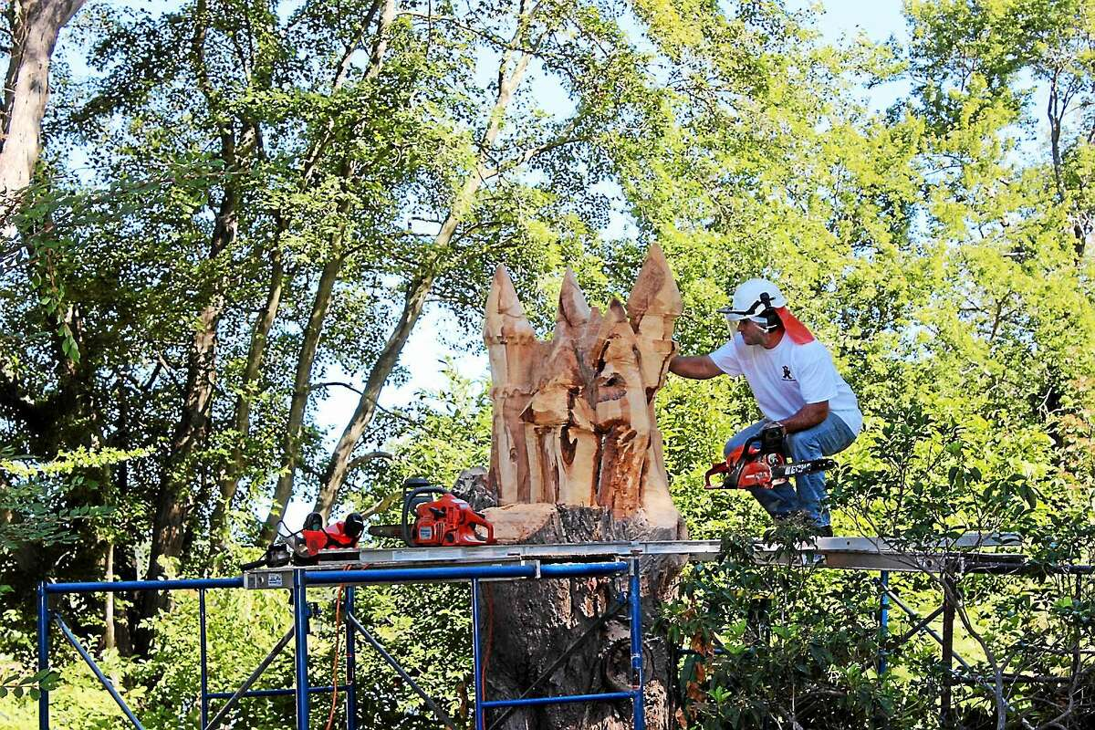 Contributed photo Jared Welcome of JareBear Carvings from Connecticut will create a faerie tower out of a 77-year-old tree on the Griswold Museum's campus.
